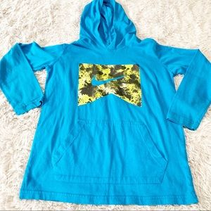Nike kids long sleeve blue pullover with hood